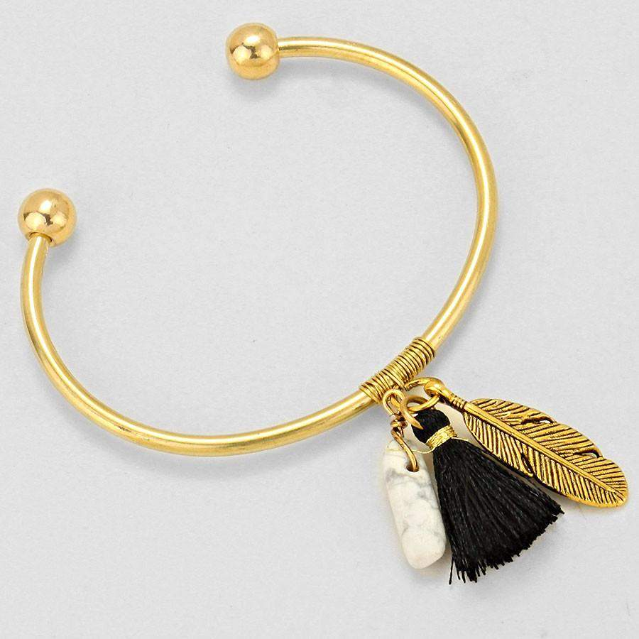 Leaf, Stone, and Black Tassel Gold Cuff Bracelet - JaeBee Jewelry