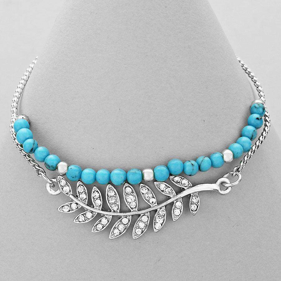 Turquoise Beaded Bracelet with Silver Crystal Pave Leaf - JaeBee Jewelry