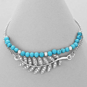 Turquoise Beaded Bracelet with Silver Crystal Pave Leaf - JaeBee