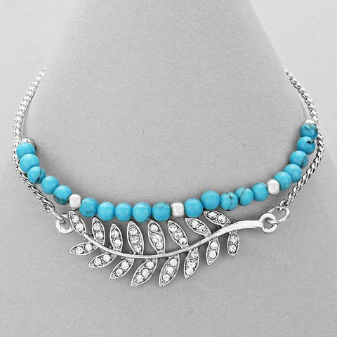 Turquoise Beaded Bracelet with Silver Crystal Pave Leaf