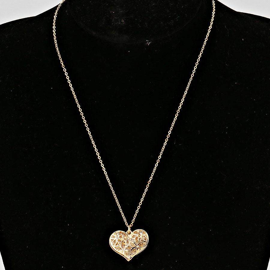 Gold Cut Out Heart and Crystal Pave Heart Necklace - JaeBee