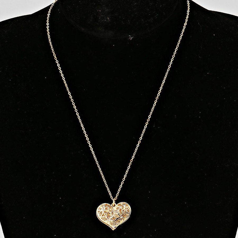 Gold Cut Out Heart and Crystal Pave Heart Necklace - JaeBee Jewelry