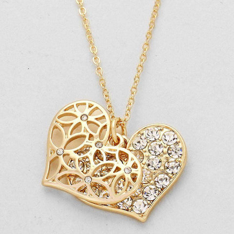 Gold Cut Out Heart and Crystal Pave Heart Necklace