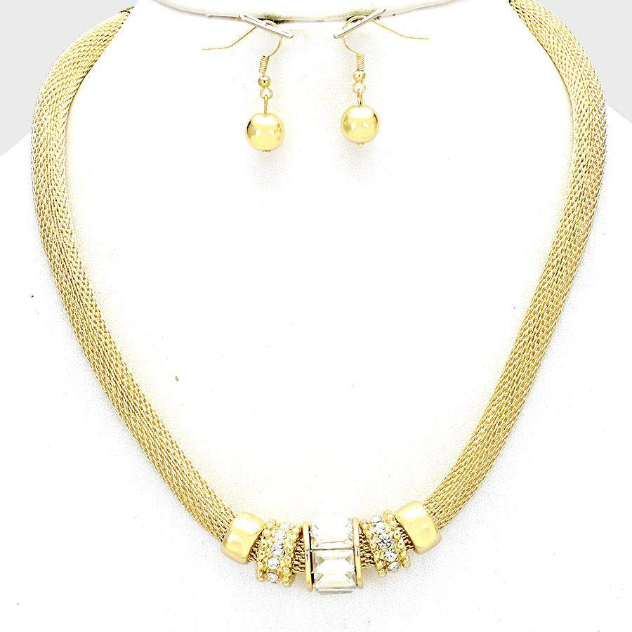 Gold Mesh Accent Necklace - JaeBee Jewelry