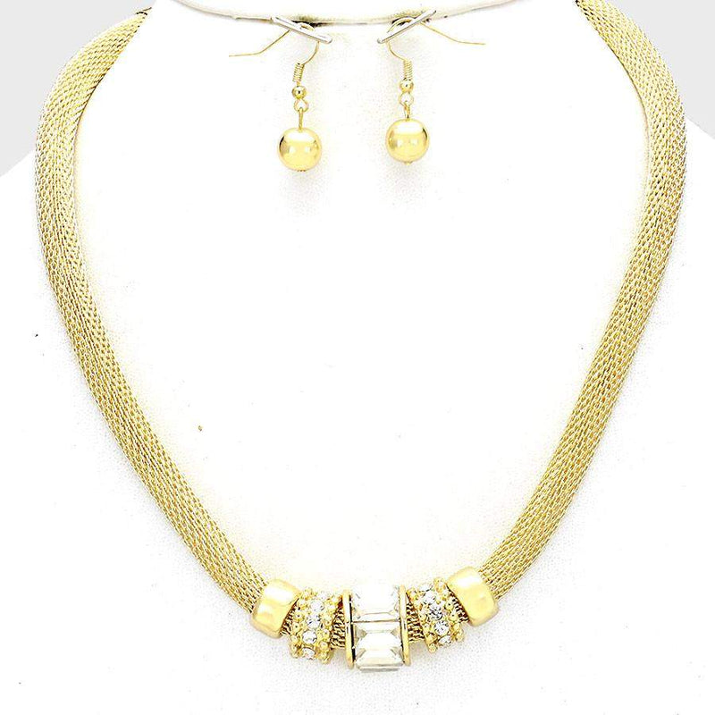 Gold Mesh Accent Necklace - JaeBee