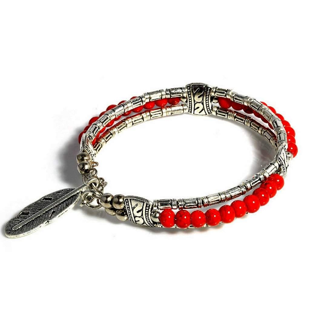 Silver Tibetan Feather and Red Beaded Bangle Bracelet