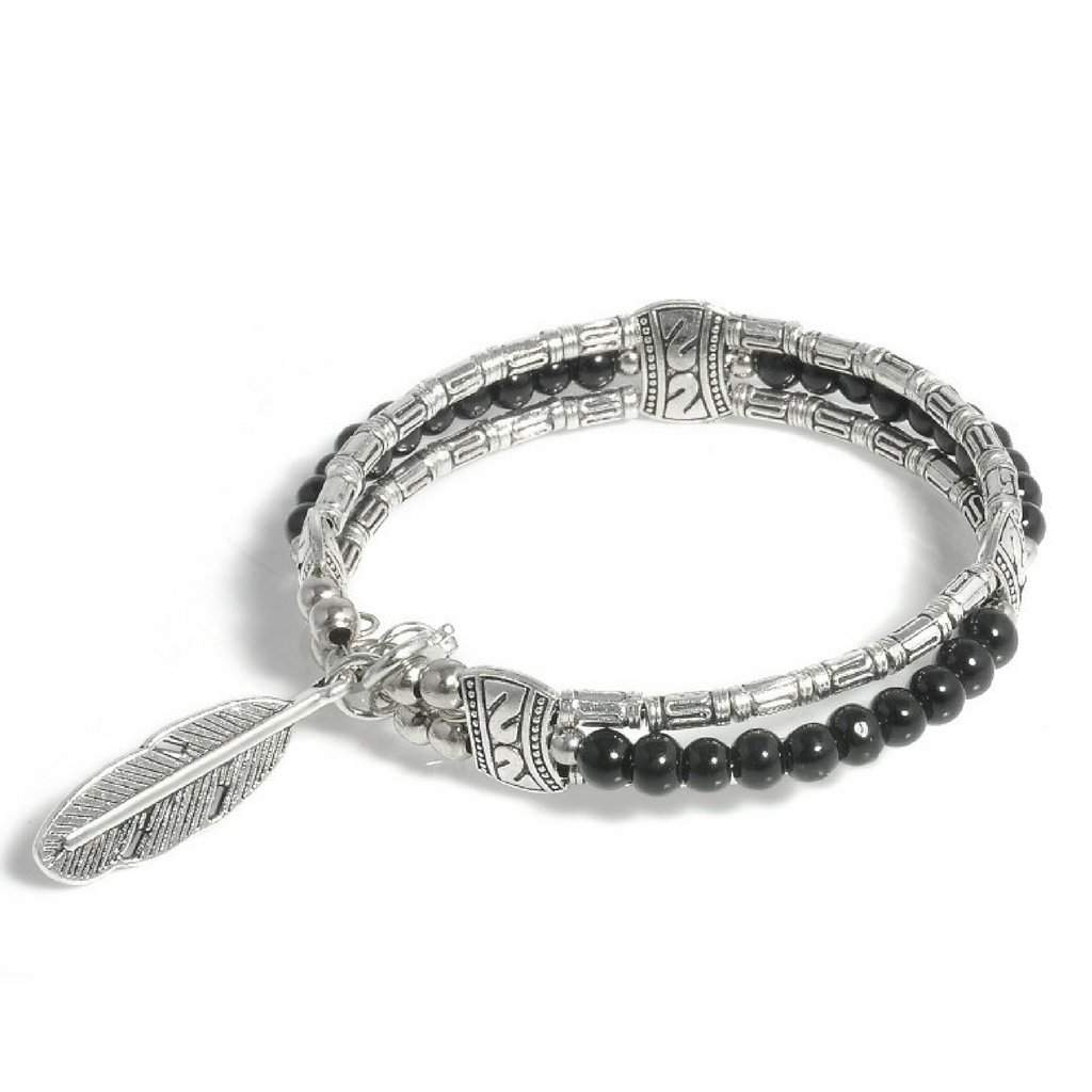 Silver Tibetan Feather and Black Beaded Bangle Bracelet - JaeBee Jewelry