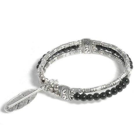 Silver Tibetan Feather and Black Beaded Bangle Bracelet