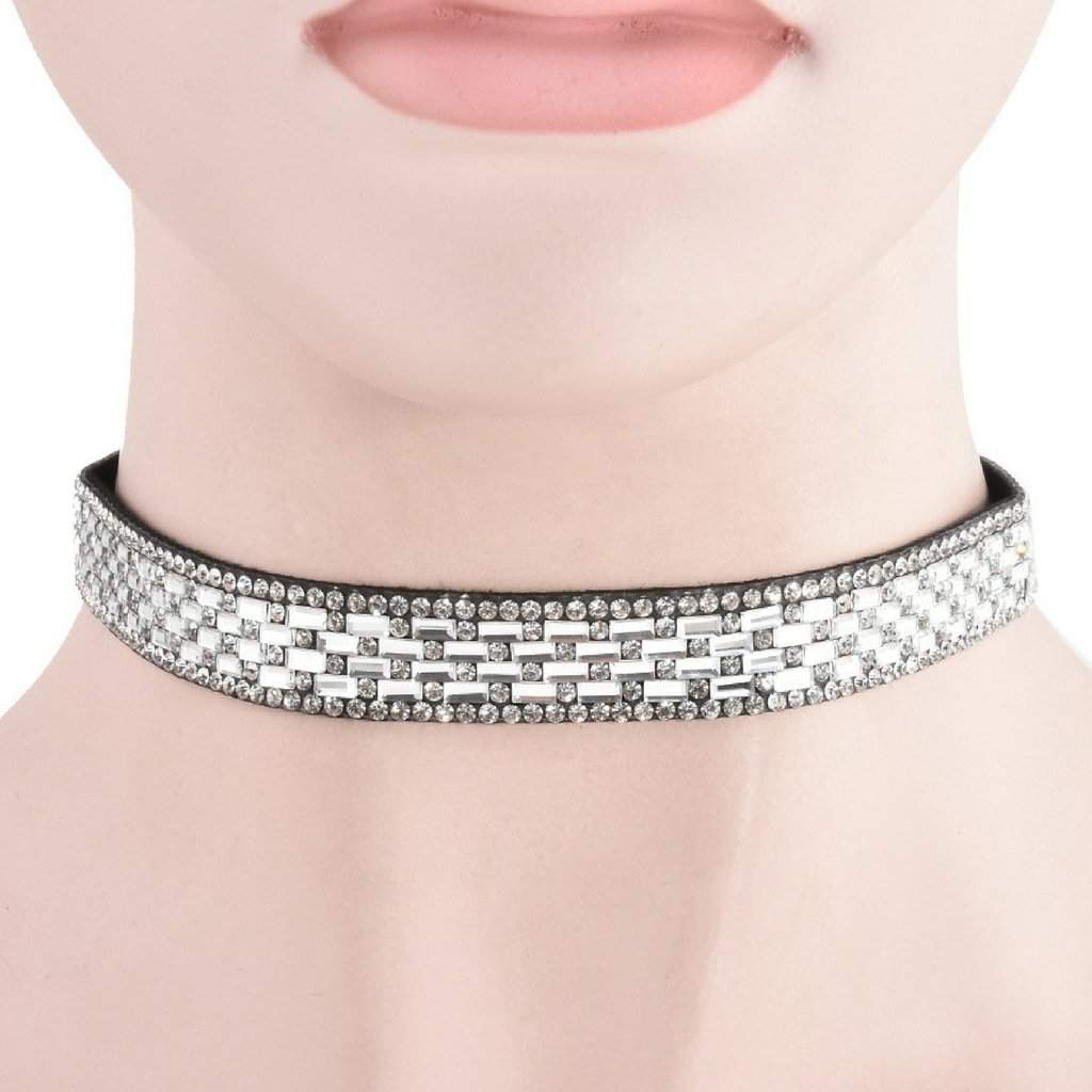 White Faux Leather and Crystal Choker