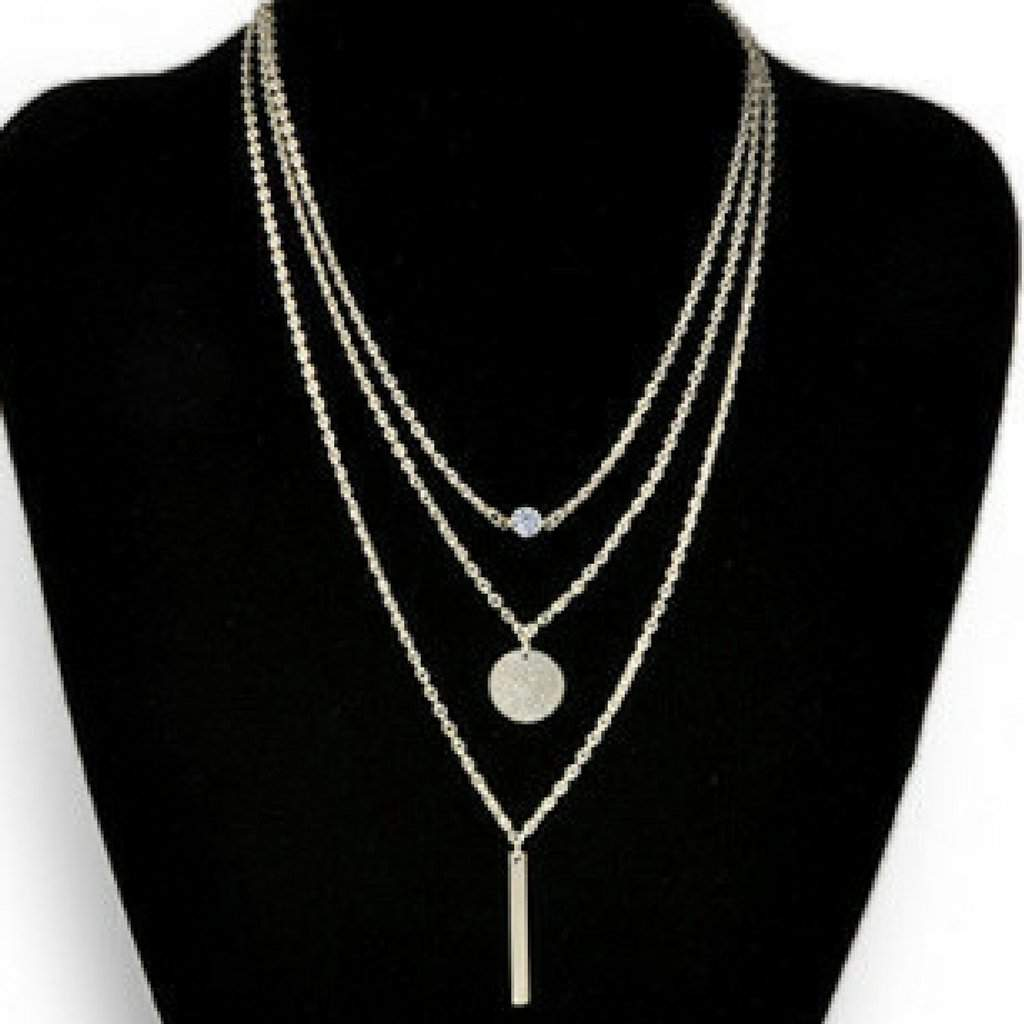 Silver Layered Bar, Disc, and Crystal Necklace - JaeBee