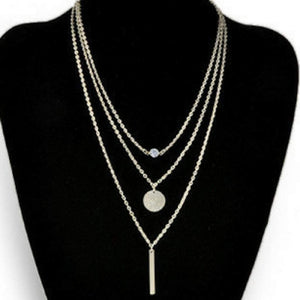 Silver Layered Bar, Disc, and Crystal Necklace - JaeBee Jewelry