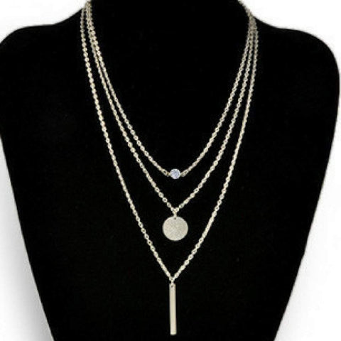 Silver Layered Bar, Disc, and Crystal Necklace
