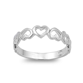 Sterling Silver Alternate Multiple Upside Down Heart Ring