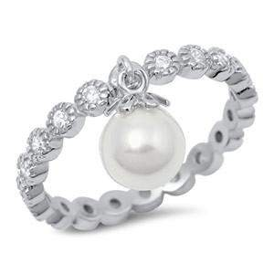 Sterling Silver Stackable CZ Ring With Drop Pearl - JaeBee Jewelry