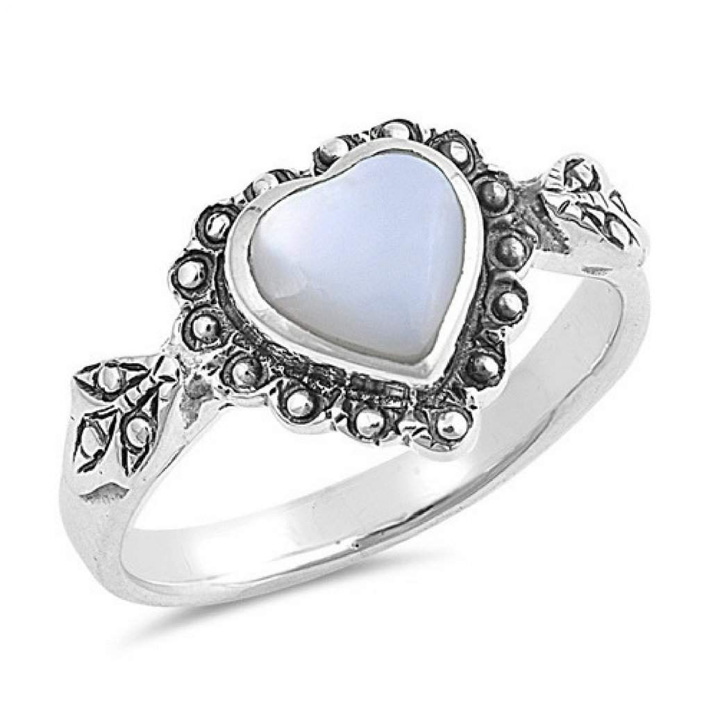 Mother of Pearl Heart Sterling Silver Ring - JaeBee Jewelry