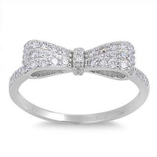 Bow Sterling Silver and CZ Ring - JaeBee Jewelry