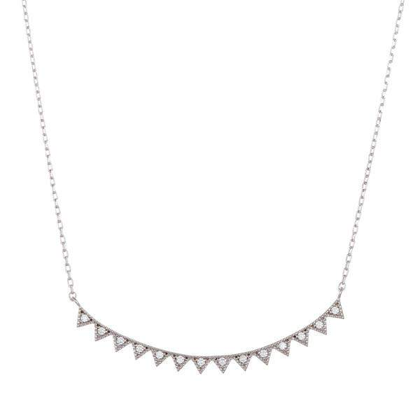 Sterling Silver Curved Bar Necklace - JaeBee Jewelry