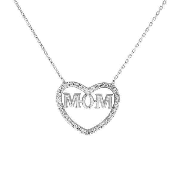 Heart and Mom Sterling Silver and CZ Stone Necklace - JaeBee Jewelry
