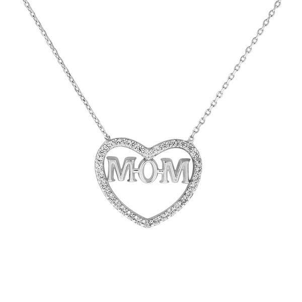 Heart and Mom Sterling Silver and CZ Stone Necklace - JaeBee