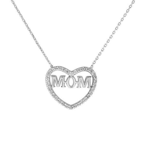 Heart and Mom Sterling Silver and CZ Stone Necklace
