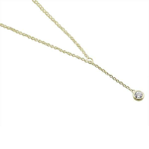 Sterling Silver Classic Bezel Solitaire Lariat Necklace - JaeBee Jewelry