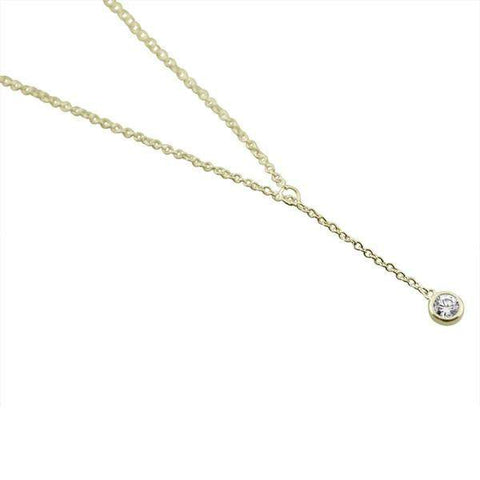Sterling Silver Classic Bezel Solitaire Lariat Necklace