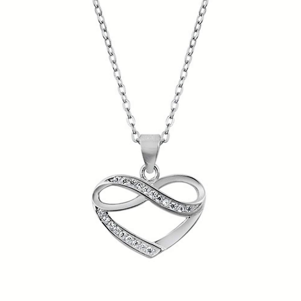 Sterling Silver Heart and Infinity CZ Necklace - JaeBee Jewelry