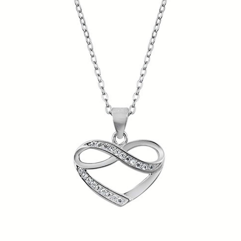 Sterling Silver Heart and Infinity CZ Necklace