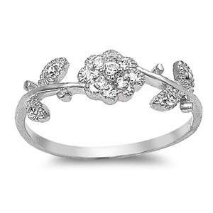 Cubic Zirconia Rose Sterling Silver Ring - JaeBee Jewelry