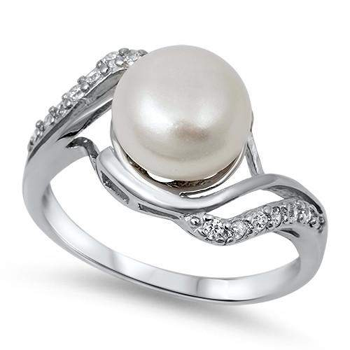 Pearl and CZ Sterling Silver Ring - JaeBee Jewelry