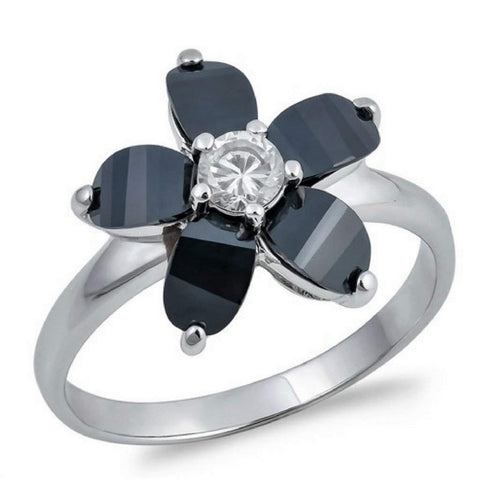 Black and Clear CZ Plumeria Flower Ring