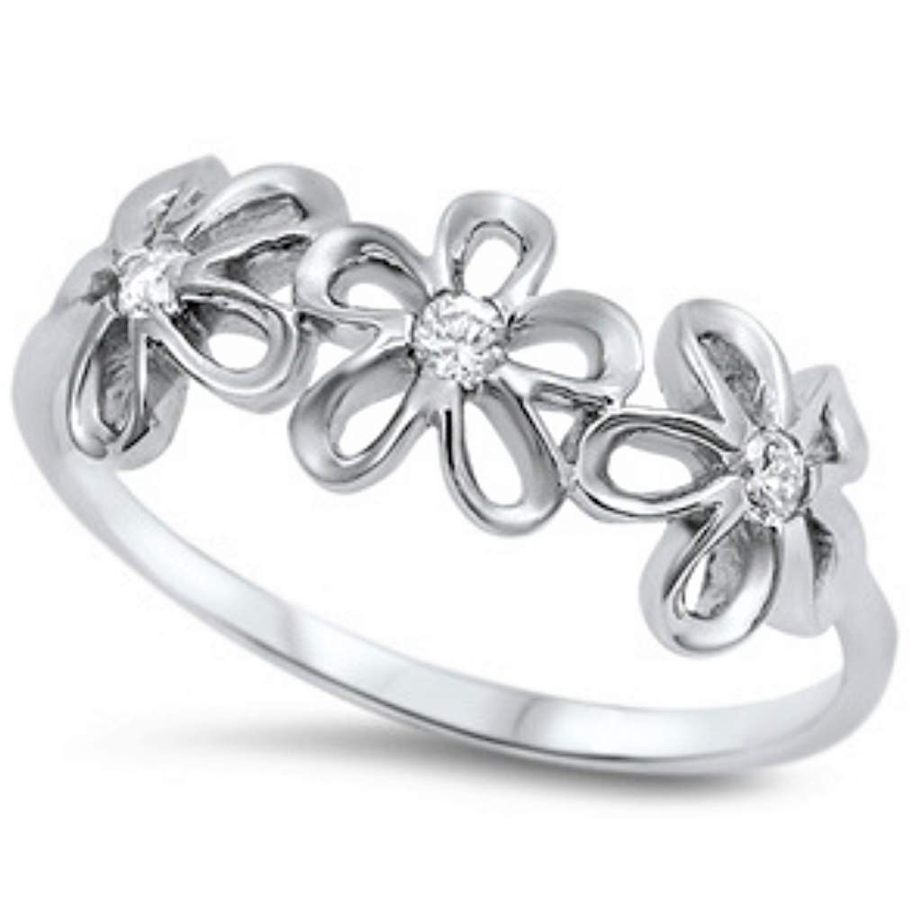 Sterling Silver and CZ Flower Ring Band - JaeBee Jewelry