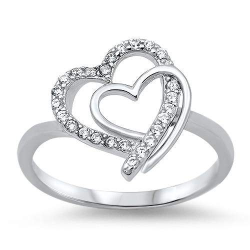 Sterling Silver and CZ Double Heart Ring - JaeBee