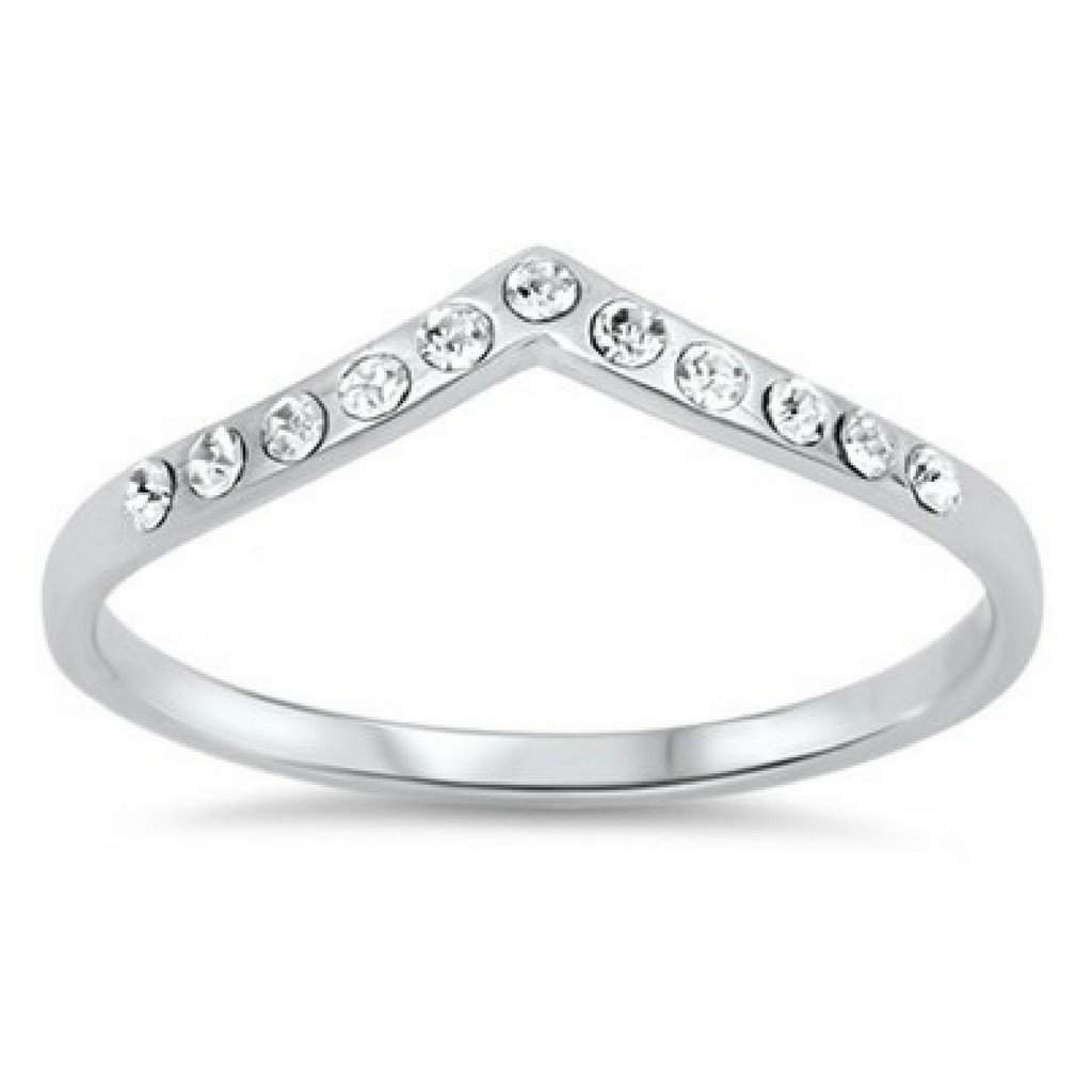 Sterling Silver CZ V Shaped Ring