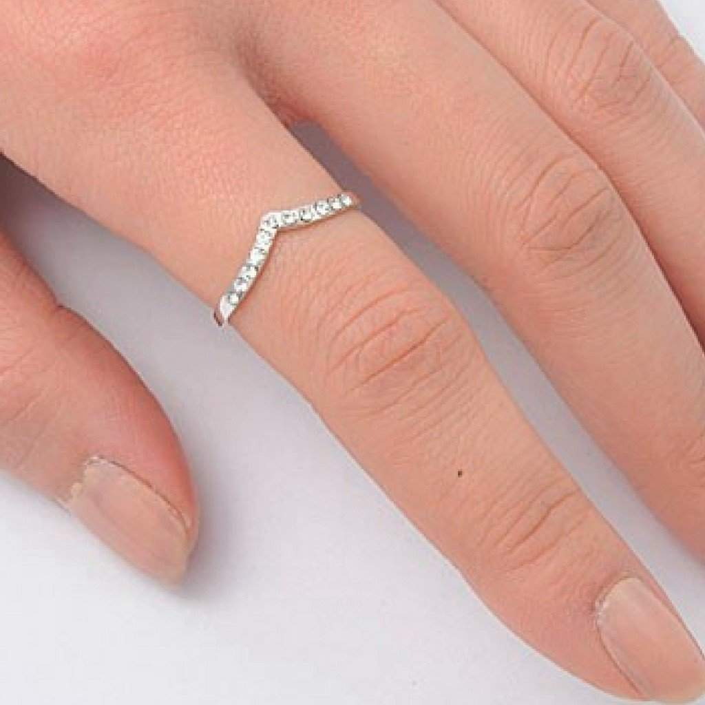 Sterling Silver CZ V Shaped Ring - JaeBee Jewelry