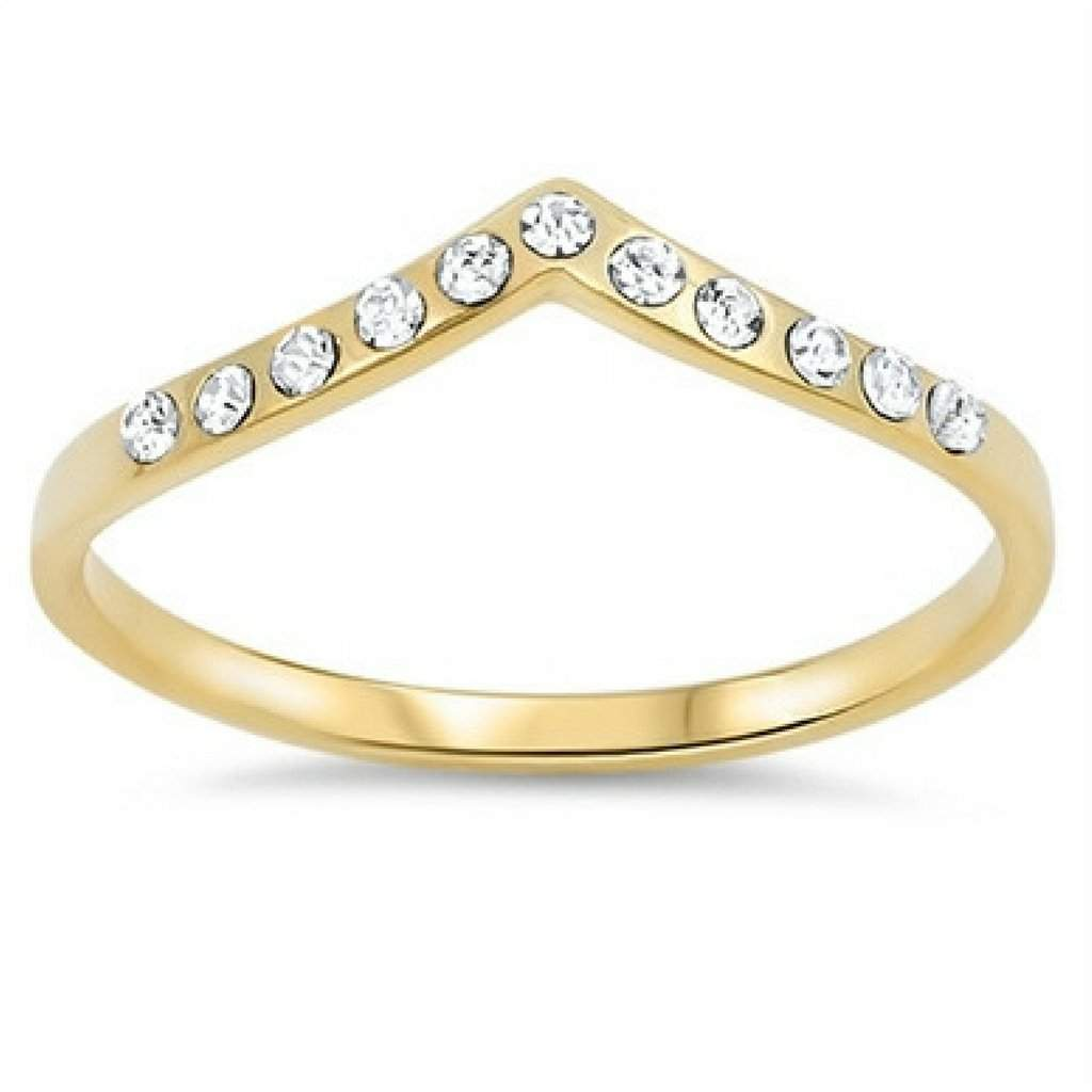 Gold and CZ V Shaped Ring - JaeBee Jewelry