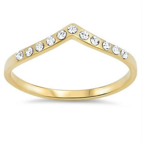 Gold and CZ V Shaped Ring