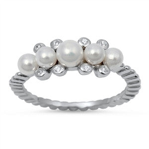 Pearl Cluster Sterling Silver Ring