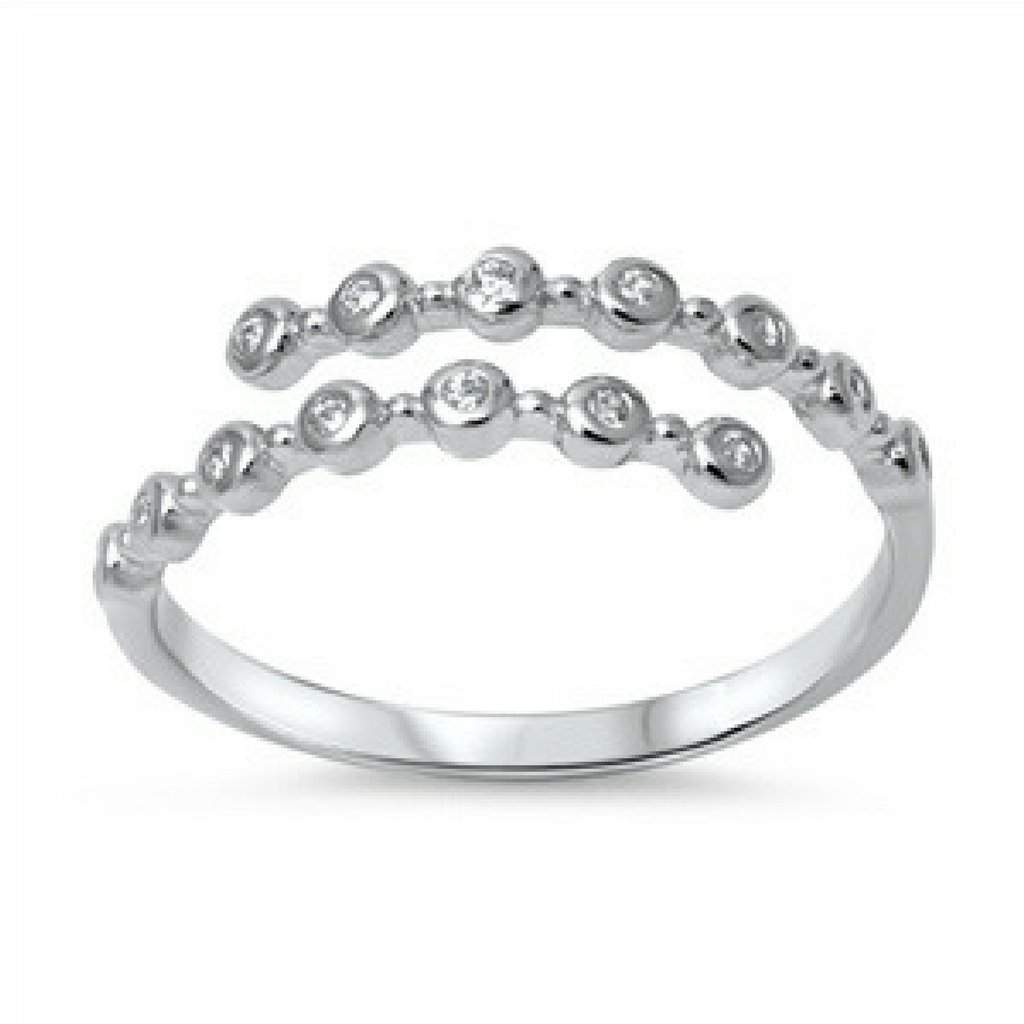 Sterling Silver and CZ Open Wrap Ring - JaeBee Jewelry