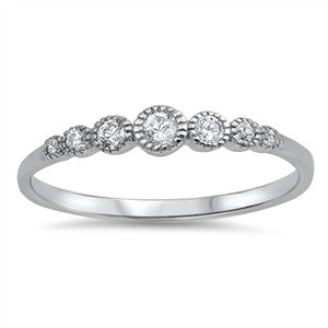 Sterling Silver CZ Round Stone Ring - JaeBee Jewelry
