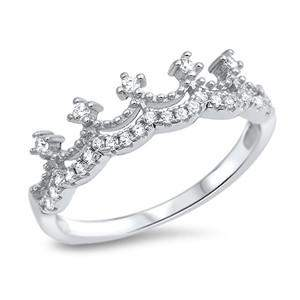 Sterling Silver CZ Crown Ring - JaeBee Jewelry