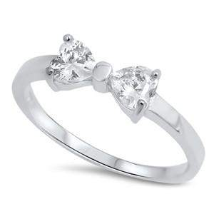 Sterling Silver CZ Bow Ring - JaeBee Jewelry