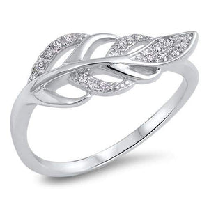 Sterling Silver and CZ Leaf Ring - JaeBee Jewelry