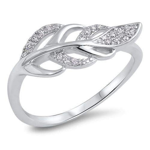 Sterling Silver and CZ Leaf Ring