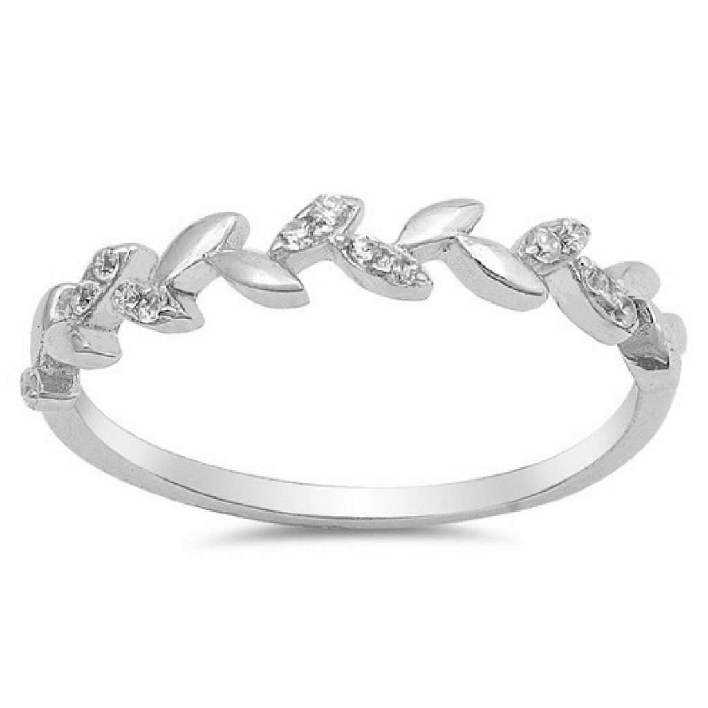 Sterling Silver and CZ Leaf Vine Ring - JaeBee Jewelry