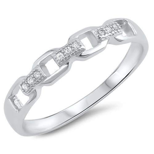 Sterling Silver and CZ Chain Link Ring - JaeBee Jewelry