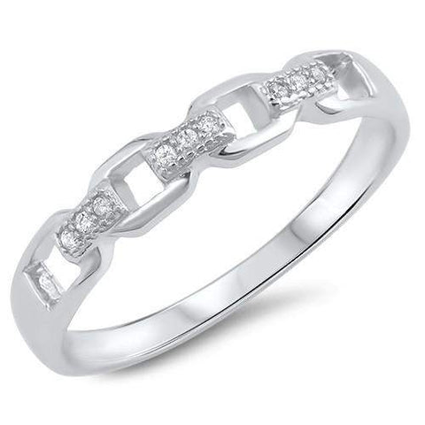 Sterling Silver and CZ Chain Link Ring