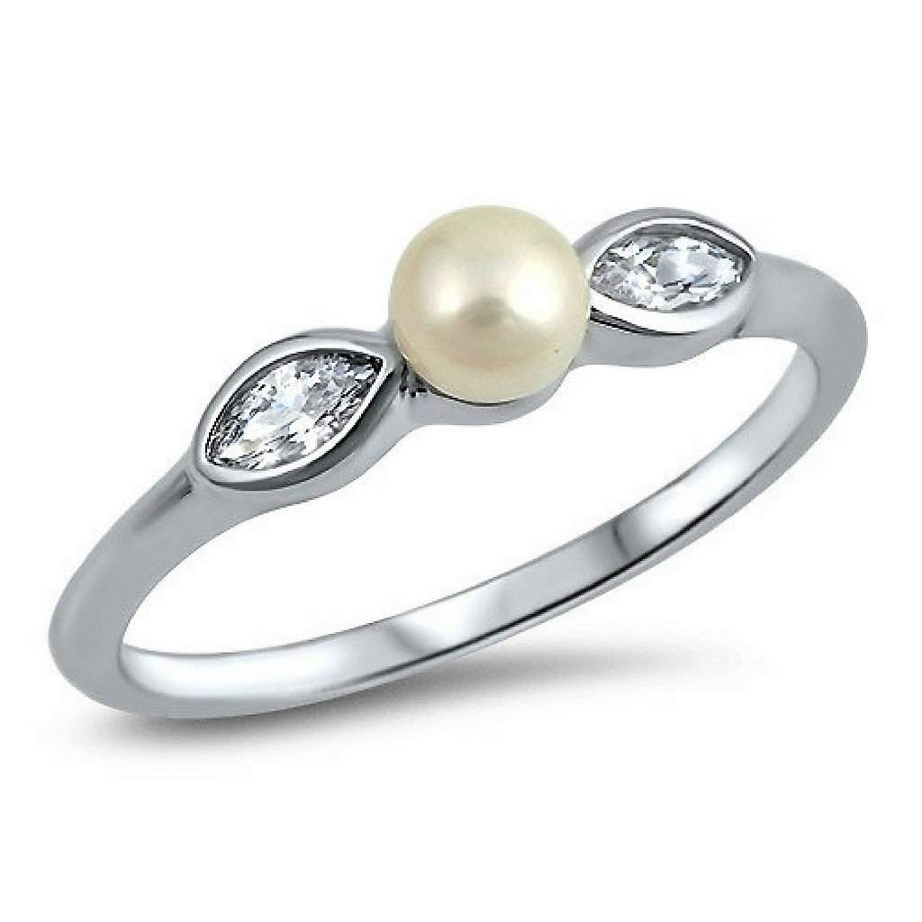 Pearl Floral Sterling Silver Ring
