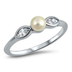 Pearl Floral Sterling Silver Ring - JaeBee Jewelry