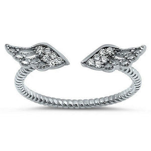 Sterling Silver and CZ Angel Wings Ring - JaeBee Jewelry
